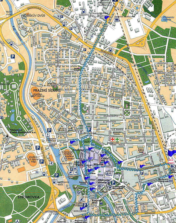 Карта маршрута Чешских Будеевиц Scrat Путешествуем сами