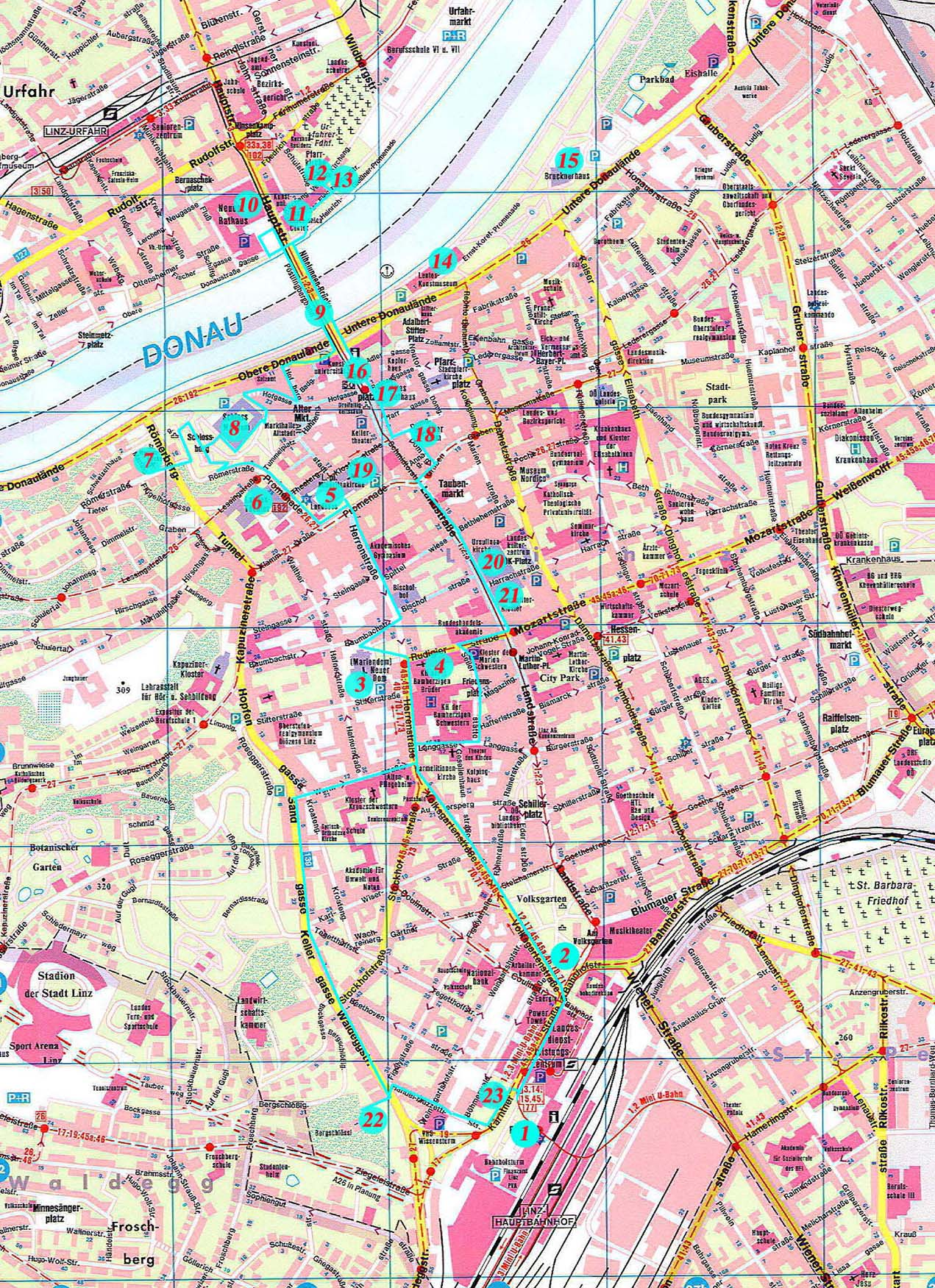 Карта маршрута Линц Австрия Scrat Путешествуем сами