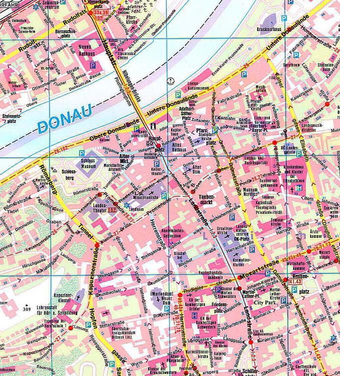 Карта центра Линц Австрия Scrat Путешествуем сами
